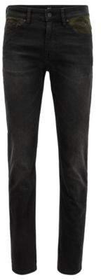 BOSS Hugo Slim-fit jeans camouflage pocket facings 33/32 Dark Grey