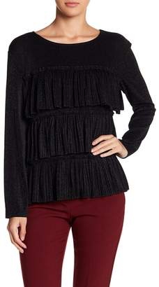 CQ by CQ Tiered Ruffle Metallic Long Sleeve Shirt