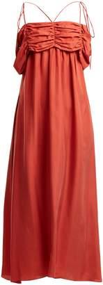 Isa Arfen Ruched-detail square-neck silk dress