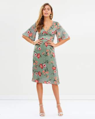 Missguided Floral Short Sleeve Midi Dress