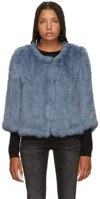 Yves Salomon Blue Knitted Rabbit Jacket