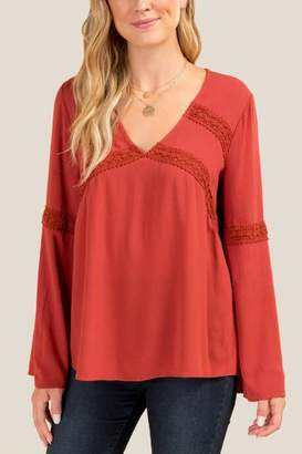 francesca's Tina Crochet Trim Blouse - Cinnamon