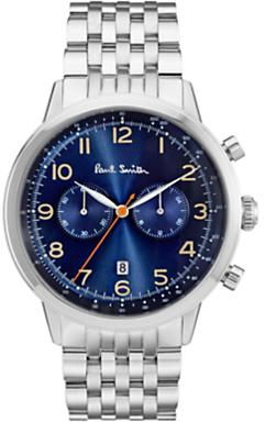P10017 Men's Precision Chronograph Date Bracelet Strap Watch, Silver/Dark Blue