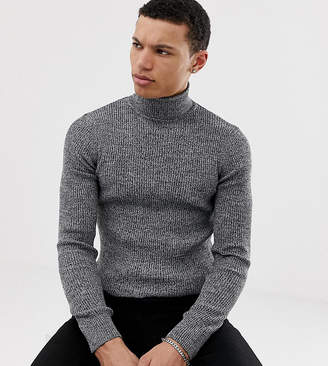 Asos Design DESIGN Tall ribbed roll neck sweater in gray twist
