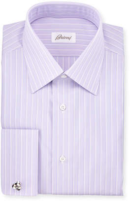 Brioni Satin-Stripe French-Cuff Dress Shirt, Purple