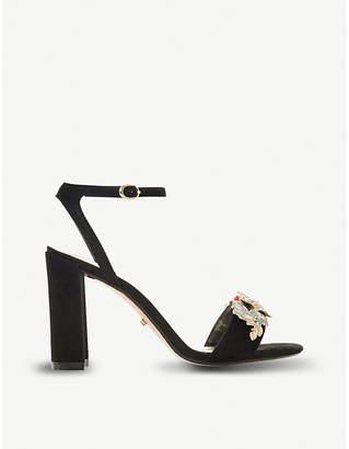 Dune Moretto floral-embellished suede heeled sandals