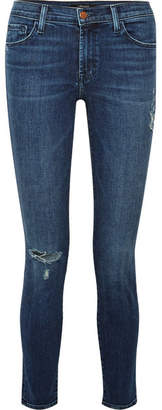 ... J Brand 811 Distressed Mid-rise Skinny Jeans - Dark denim