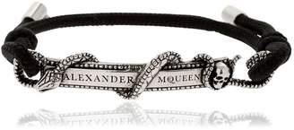 Alexander McQueen Snake & Logo Drawstring Bracelet