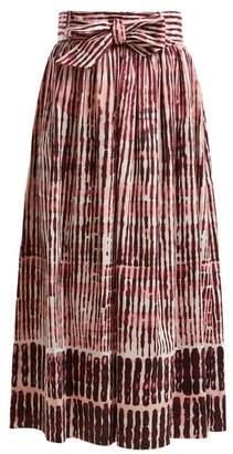 Goat Faro Batik Striped Stretch Cotton Skirt - Womens - Burgundy White