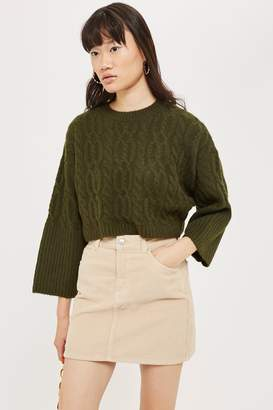 Topshop Womens Petite Super Soft Cable Cropped Jumper - Khaki