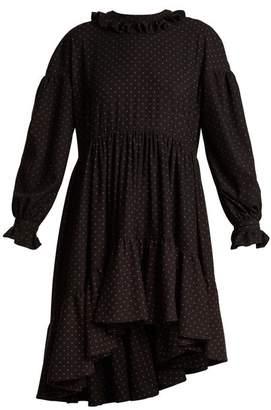 Blue Roses - Ione Dot Print Asymmetric Hem Dress - Womens - Black Multi