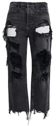 Alexander Wang Distressed Mid-rise Straight-leg Jeans