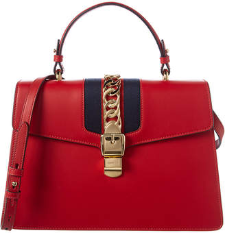 Gucci Sylvie Medium Top Handle Leather Satchel