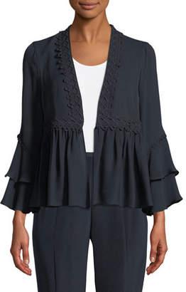 Nessa Kobi Halperin Ruffled Open-Front Silk Jacket