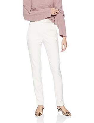 Halston Women's Slim Tapered Crepe Pants with Satin Inserts