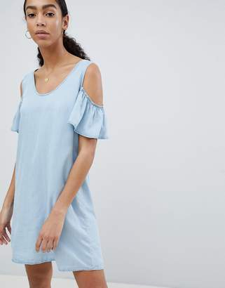 Noisy May cold shoulder denim shift mini dress