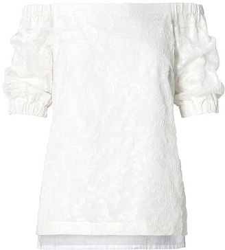 Ralph Lauren Lauren Jacquard Off-The-Shoulder Top $125 thestylecure.com
