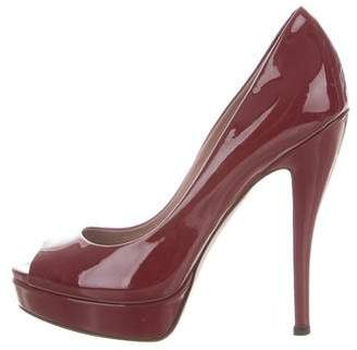 Gucci Patent Leather Peep-Toe Pumps