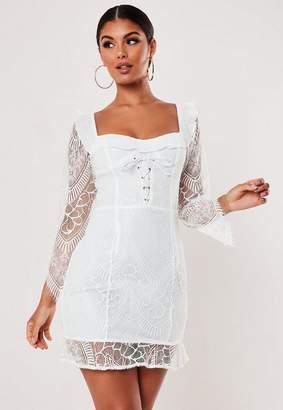 2068fad8323e Missguided White Square Neck Lace Up Mini Dress, White