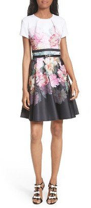 Women's Ted Baker London Valerey Painted Posie Belted Skater Dress $279 thestylecure.com