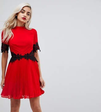 Asos Lace Waist and Cuff Pleated Mini Dress