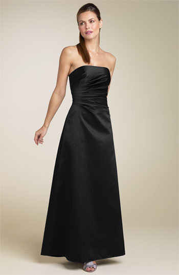 JS Boutique Strapless Ruched Satin Gown