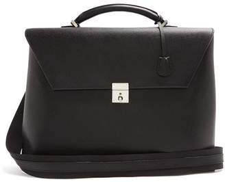 Valextra Pebbled Leather Briefcase - Mens - Black