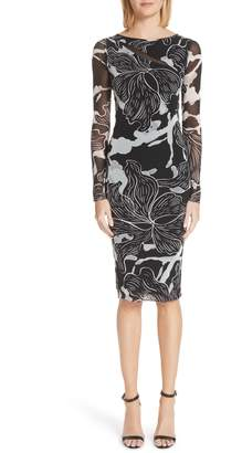 Fuzzi Deco Floral Print Tulle Body-Con Dress