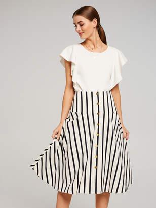 Portmans Australia Stripe Midi Skirt