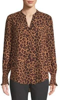 Lord & Taylor Leopard Print Georgie Smocked Sleeve Blouse