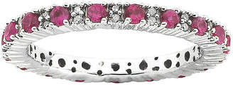 JCPenney FINE JEWELRY Personally Stackable 1/5 CT. T.W. Diamond and Lab-Created Ruby Ring