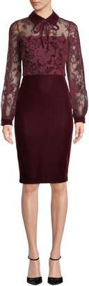 Badgley Mischka Sheer Long-Sleeve & Velvet Dress