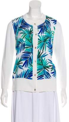 St. John Printed Long Sleeve Cardigan