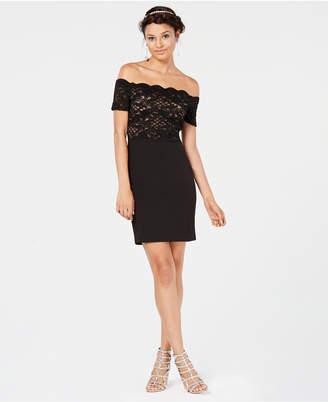 City Studios Juniors' Glitter-Lace Off-The-Shoulder Dress