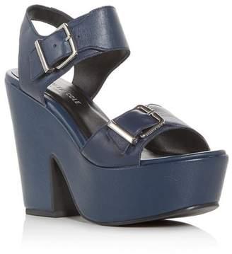 Kenneth Cole Women's Shayla Leather Platform Wedge Sandals