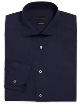 Ermenegildo Zegna Men's Solid Trofeo Sport Shirt - Olive - Size 44/17.5 R
