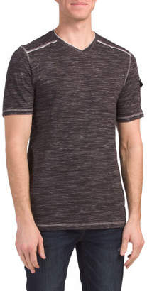 Short Sleeve V Neck Tee With Pocket
