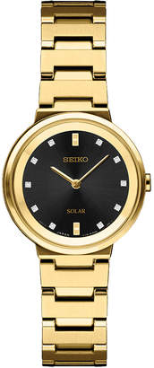Seiko Women's Solar Diamond Collection Diamond-Accent Gold-Tone Stainless Steel Bracelet Watch 27.5mm