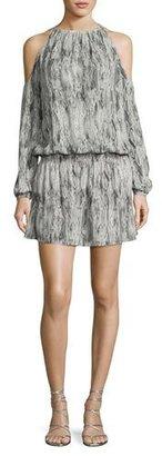 Ramy Brook Lauren Snakeskin Cold-Shoulder Blouson Dress, Gunmetal $425 thestylecure.com
