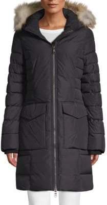 Layla Fox Fur-Trimmed Hooded Coat