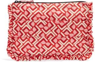LA DOUBLEJ Geometric-print ruffle-trimmed pouch