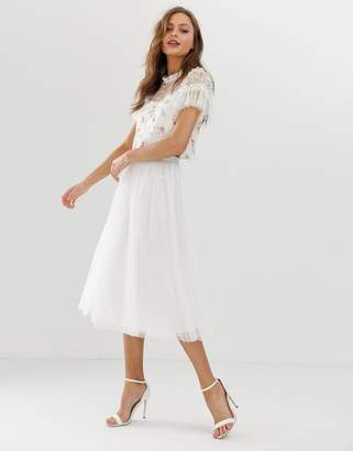 Needle & Thread dotted tulle midaxi skirt in ivory