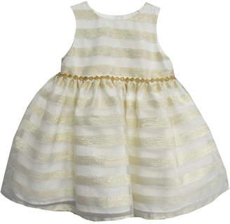 Marmellata Shadow Stripe Dress W Faux Fur Shrug Short Sleeve Sundress - Baby Girls