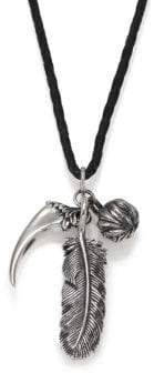 King Baby Studio Raven Feather& Leather Cord Necklace