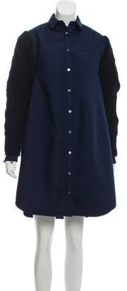 Sacai Wool-Trimmed Shirt Dress w/ Tags