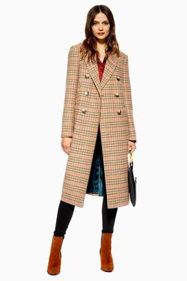 Topshop Womens Check Coat - Multi
