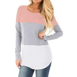 a7ffb3f230f Aritone Womens Pregnant Long Sleeve Striped Blouse Maternity Layered Nursing  Tunic Tops for Breastfeeding