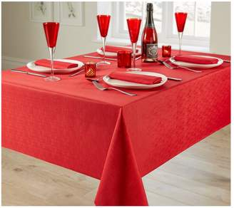 Very Linen Look 4 Place Setting Tablecloth and Napkin Set – Red