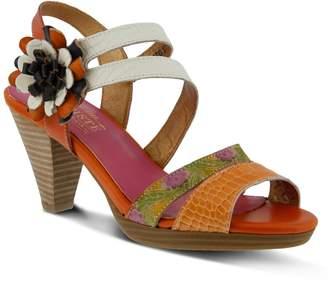 Spring Step Plato Orange Leather Sandal 36 M EU