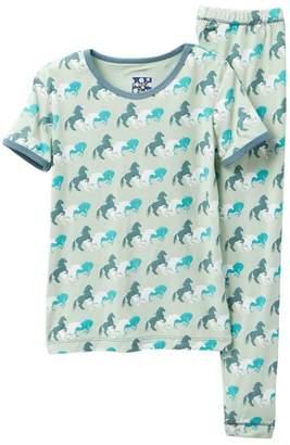Kickee Pants Printed Aloe Wild Horses Short Sleeve Pajama Set (Baby, Toddler, Little Boys, & Big Boys)